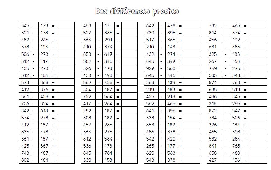 Calcul Mental Ce2 A Imprimer